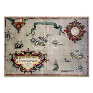 Old Antique Map of the Azores from 1584 - Replica Poster
