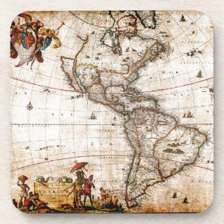 Old Antique North & South America Map Beverage Coaster