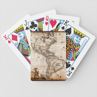 Old Antique North & South America Map Bicycle Playing Cards
