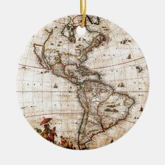 Old Antique North & South America Map Ceramic Ornament