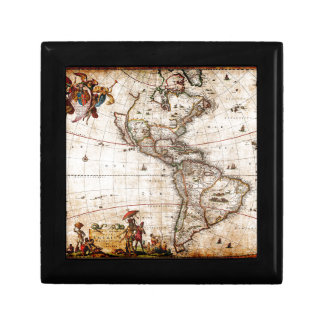 Old Antique North & South America Map Gift Box