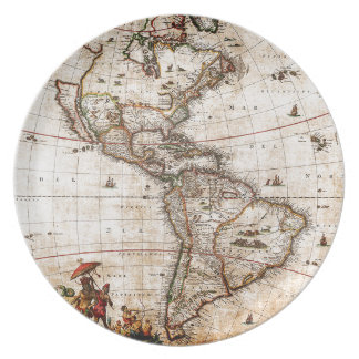 Old Antique North & South America Map Melamine Plate