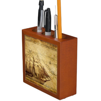 old antique pirate ship pencil holder