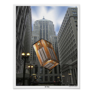 Old / Antique Radio Suspended in Downtown Chicago Poster