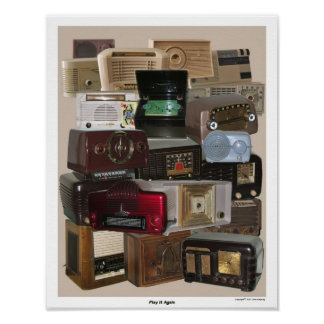 Old / Antique Tabletop Radio Poster
