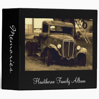 Old Antique Truck in Sepia Family Photo Album Binder