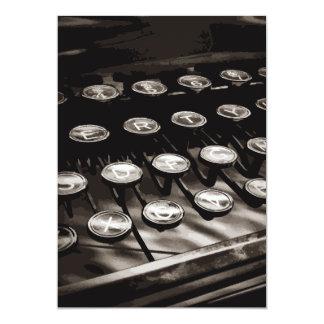 Old Antique Typewriter Keys Black White 5x7 Paper Invitation Card