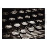 Old Antique Typewriter Keys Black White Greeting Card