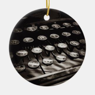 Old Antique Typewriter Keys Black White Ceramic Ornament