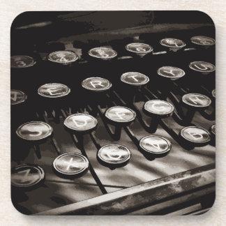 Old Antique Typewriter Keys Black White Drink Coaster