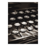 Old Antique Typewriter Keys Black White Personalized Invites