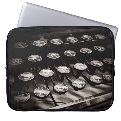 Old Antique Typewriter Keys Black White Computer Sleeves