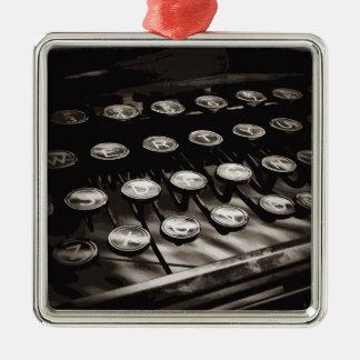 Old Antique Typewriter Keys Black White Metal Ornament