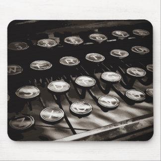 Old Antique Typewriter Keys Black White Mouse Pad