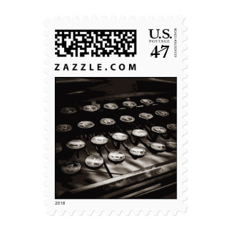 Old Antique Typewriter Keys Black White Postage Stamp