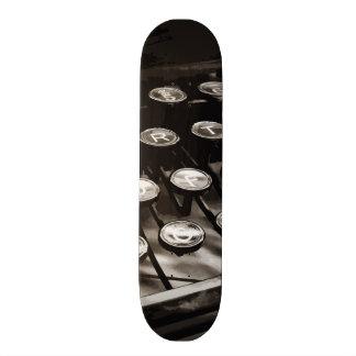 Old Antique Typewriter Keys Black White Skateboard Deck