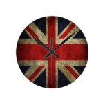 Old Antique UK British Union Jack Flag Round Wall Clocks