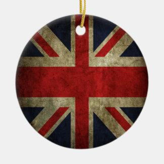 Old Antique UK British Union Jack Flag Double-Sided Ceramic Round Christmas Ornament