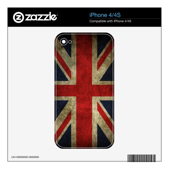 Old Antique UK British Union Jack Flag iPhone 4 Decals