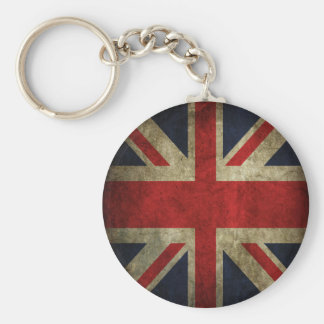 Old Antique UK British Union Jack Flag Basic Round Button Keychain