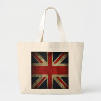 Old Antique UK British Union Jack Flag Large Tote Bag
