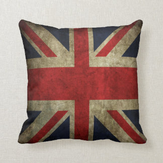 Old Antique UK British Union Jack Flag Pillow