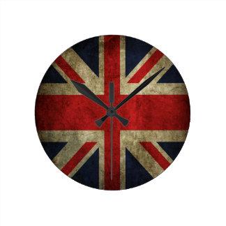 Old Antique UK British Union Jack Flag Round Clock