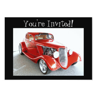 Old Antique Vintage Red Car You're Invited! Card