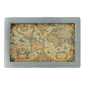 Old Antique Vintage World map illustrated Rectangular Belt Buckle