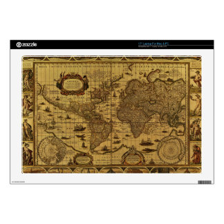 "Old Antique World Map 17"" Laptop Decals"