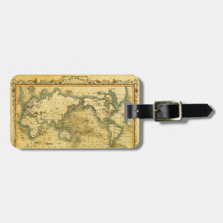 Old Antique World Map Bag Tag