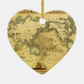 Old Antique World Map Ceramic Ornament