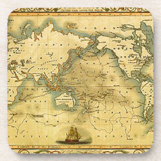 Old Antique World Map Beverage Coasters
