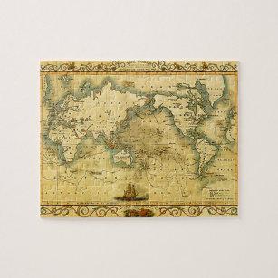 Globe atlas reprint print jigsaw puzzles zazzle old antique world map jigsaw puzzle gumiabroncs Images