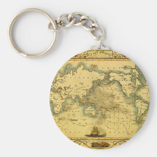 Old Antique World Map Keychain