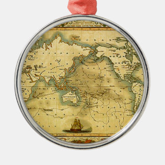 Old Antique World Map Metal Ornament