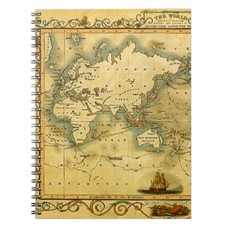 Old Antique World Map Notebook