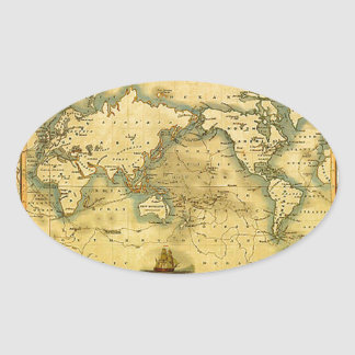 Old Antique World Map Oval Sticker