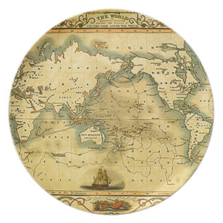 Old Antique World Map Dinner Plates
