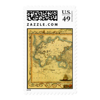 Old Antique World Map Postage