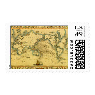 Old Antique World Map Postage Stamps