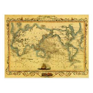 Old Antique World Map Postcard