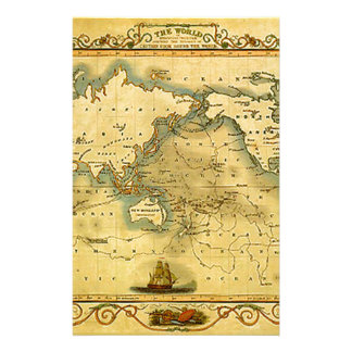 Old Antique World Map Stationery