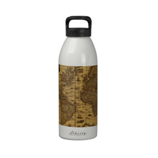 Old Antique World Map Reusable Water Bottle