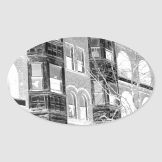 Old Apartment Buildings B/W negative Oval Sticker