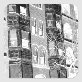 Old Apartment Buildings B/W negative Square Sticker