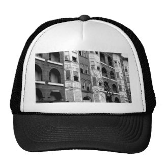 Old Apartment Buildings B/W Trucker Hat