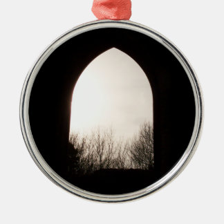 Old arch window, with Winter Trees. Ornament