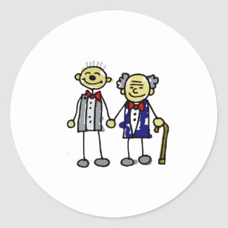 Old Asian Gay Couple Classic Round Sticker
