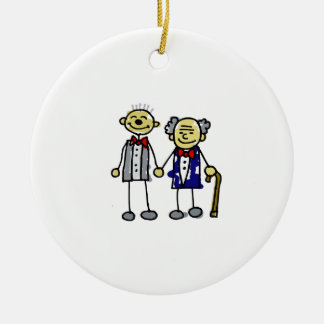 Old Asian Gay Couple Ornament